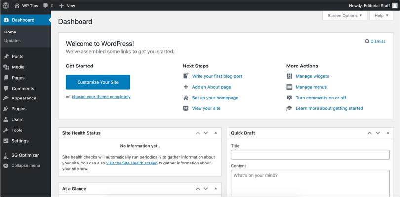 WordPress Admin Panel