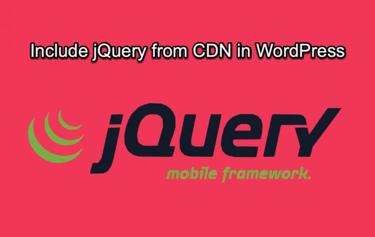 Include jQuery from CDN in WordPress