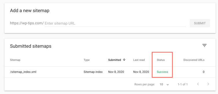 View Submitted Sitemap Status