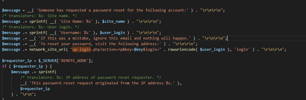 Исходный код входа в WP