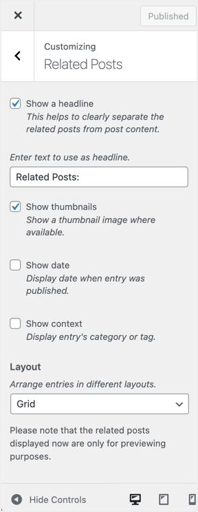 Jetpack Related Posts in Customizer