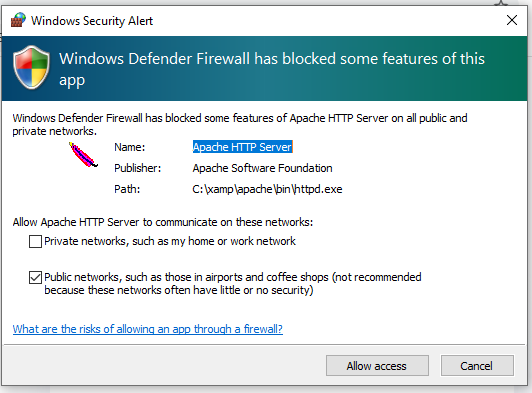 Allow Access for Windows defender