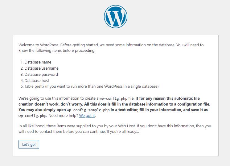 Confirming to Enter WordPress Database Information