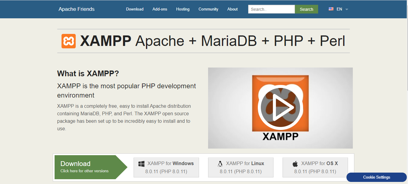 Download XAMPP from the official website