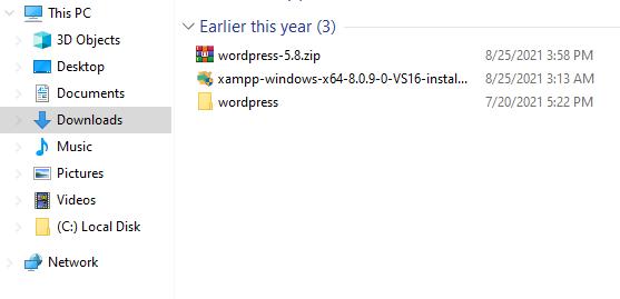 Extract WordPress ZIP Folder