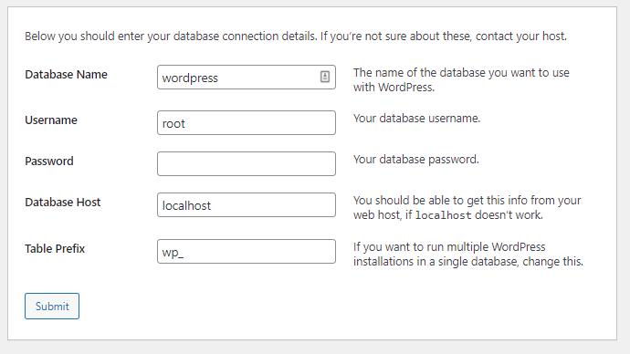 Filling in Database Information for WordPress