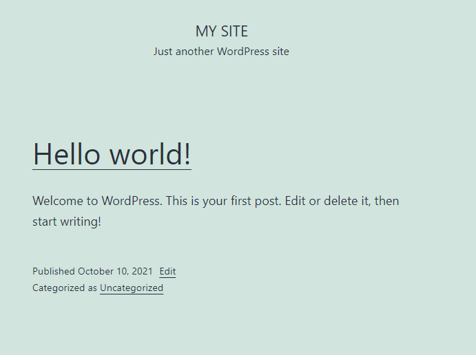 Frontend of WordPress Site