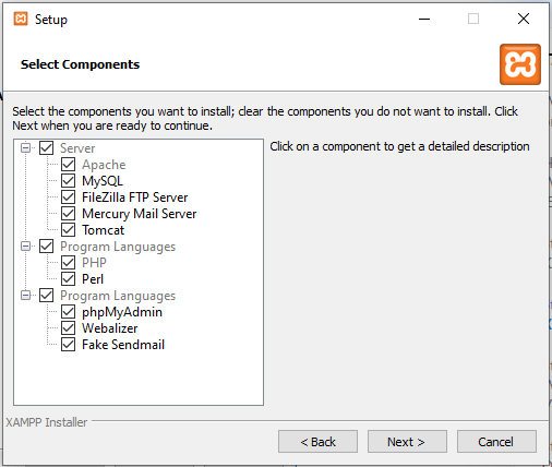 Selecting Components for XAMPP