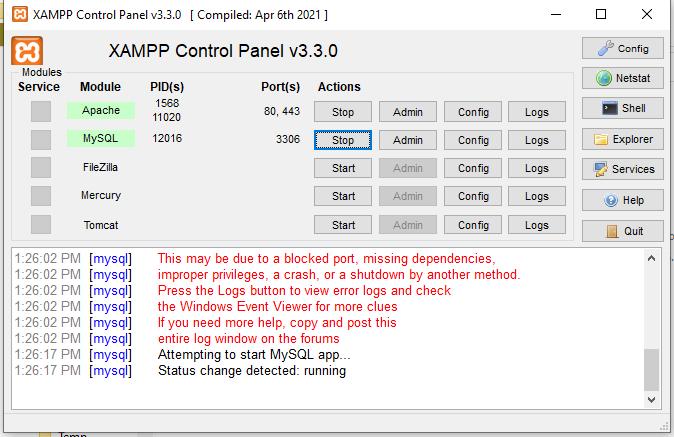 Starting XAMPP Control Panel